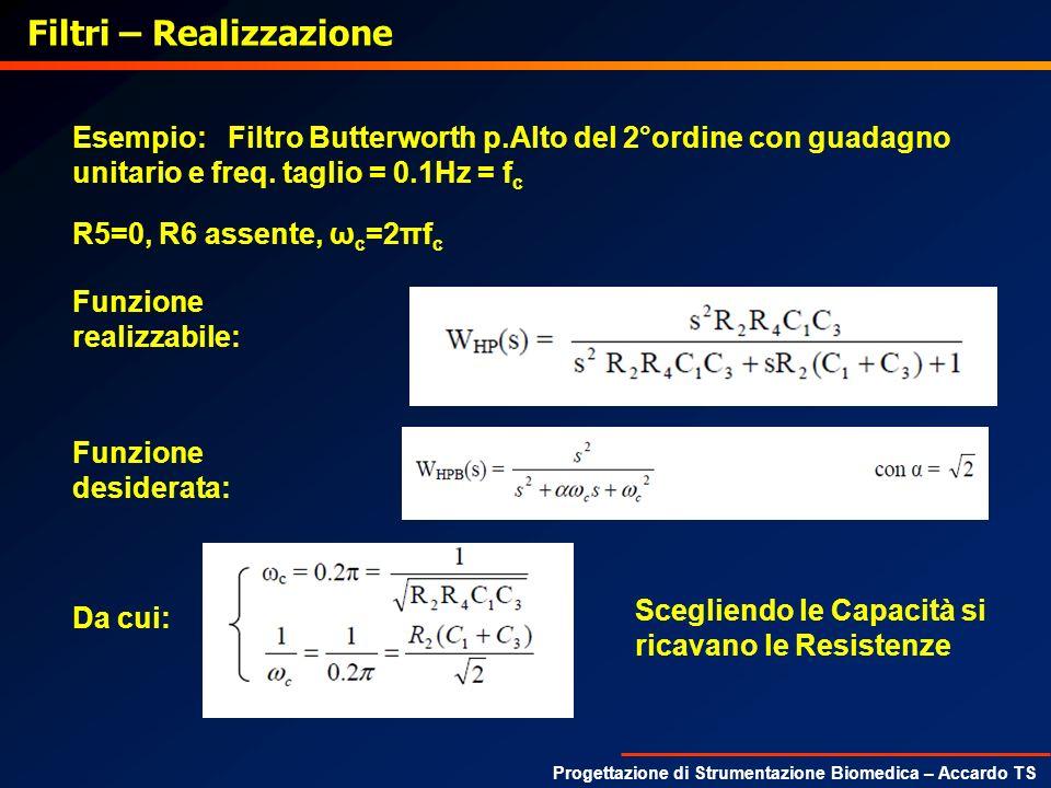 Progettazione di Strumentazione Biomedica – Accardo TS Filtri – Realizzazione Esempio: Filtro Butterworth p.Alto del 2°ordine con guadagno unitario e
