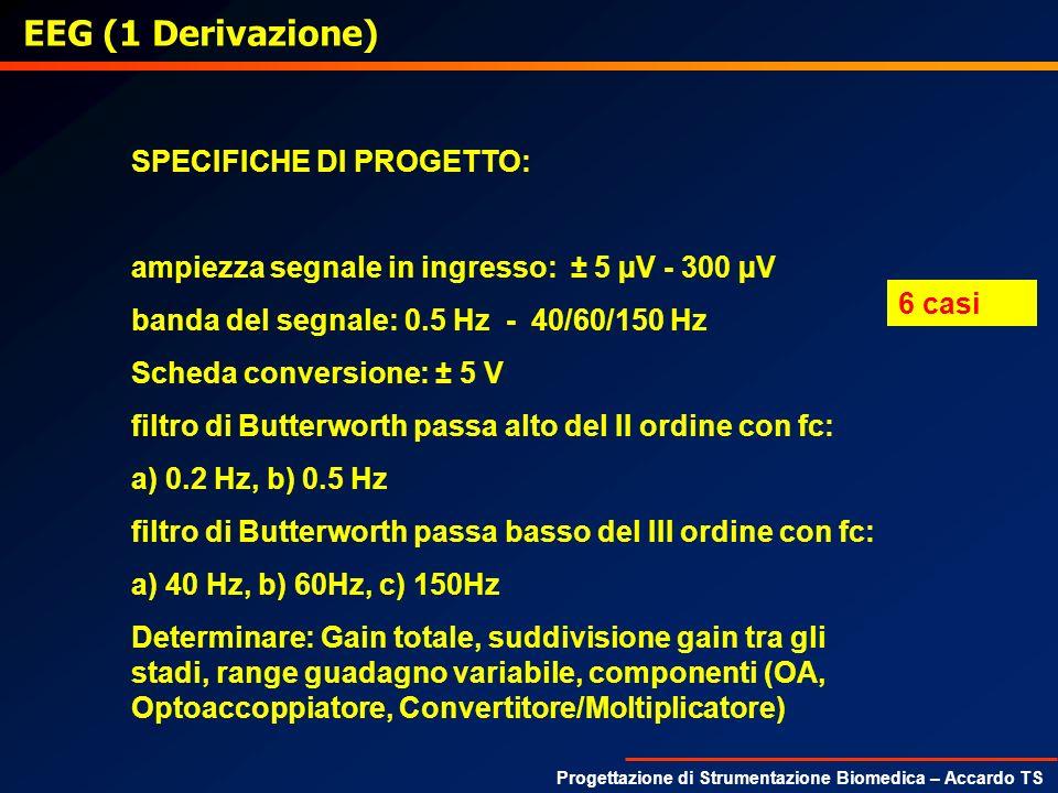 Progettazione di Strumentazione Biomedica – Accardo TS EEG (1 Derivazione) SPECIFICHE DI PROGETTO: ampiezza segnale in ingresso: ± 5 µV - 300 µV banda
