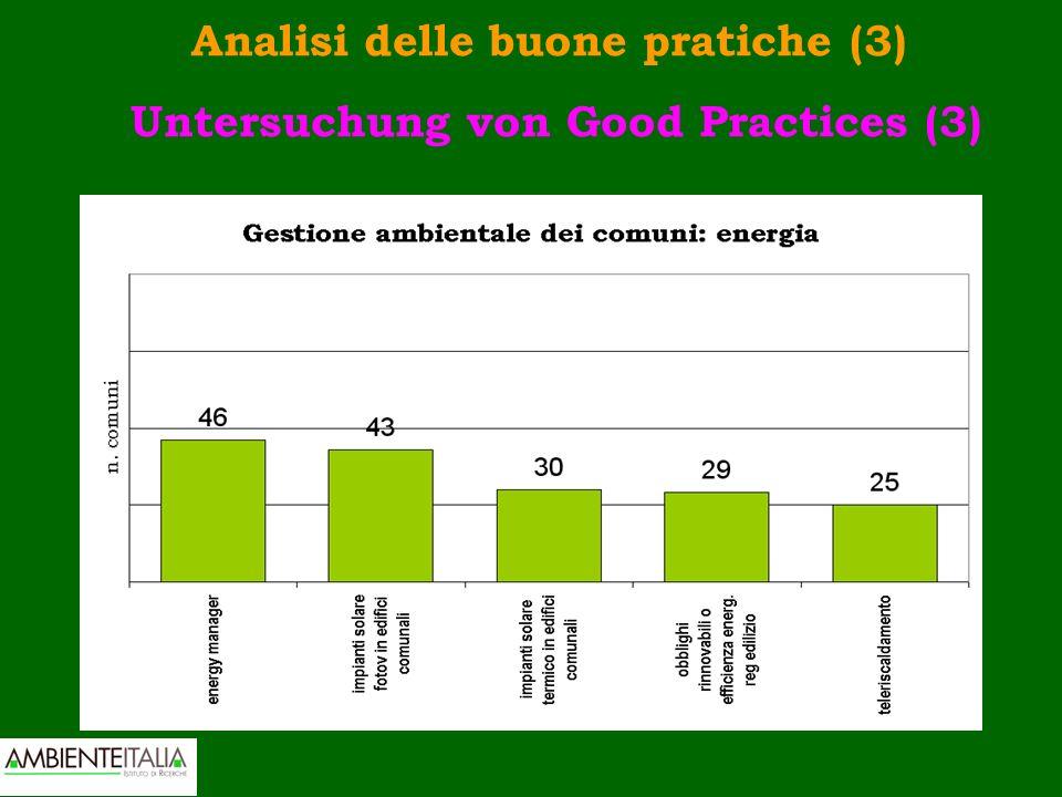 Analisi delle buone pratiche (3) Untersuchung von Good Practices (3)