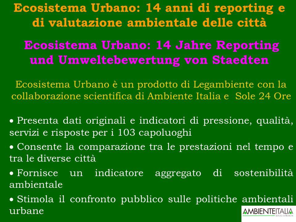 Ecosistema Urbano: 14 anni di reporting e di valutazione ambientale delle città Ecosistema Urbano: 14 Jahre Reporting und Umweltebewertung von Staedte
