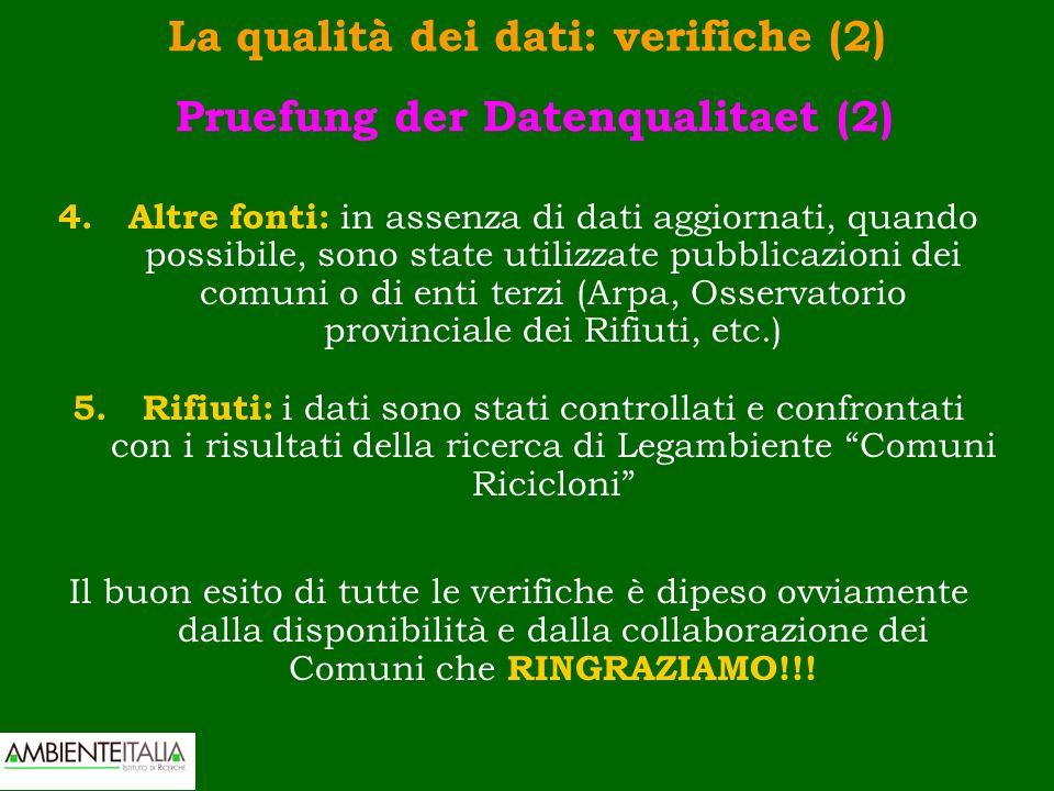 La qualità dei dati: verifiche (2) Pruefung der Datenqualitaet (2) 4.Altre fonti: in assenza di dati aggiornati, quando possibile, sono state utilizza