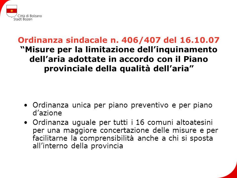 Ordinanza sindacale n. 406/407 del 16.10.07 Misure per la limitazione dellinquinamento dellaria adottate in accordo con il Piano provinciale della qua