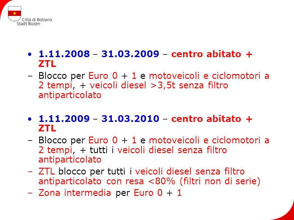 1.11.2008 – 31.03.2009 – centro abitato + ZTL –Blocco per Euro 0 + 1 e motoveicoli e ciclomotori a 2 tempi, + veicoli diesel >3,5t senza filtro antipa