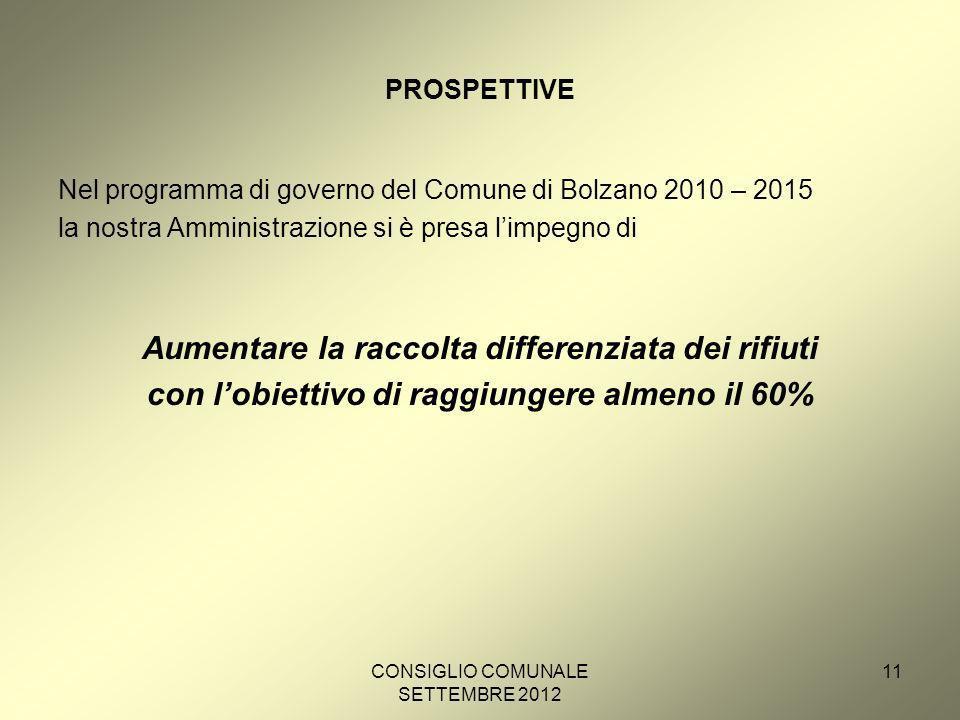 CONSIGLIO COMUNALE SETTEMBRE 2012 11 PROSPETTIVE Nel programma di governo del Comune di Bolzano 2010 – 2015 la nostra Amministrazione si è presa limpegno di Aumentare la raccolta differenziata dei rifiuti con lobiettivo di raggiungere almeno il 60%