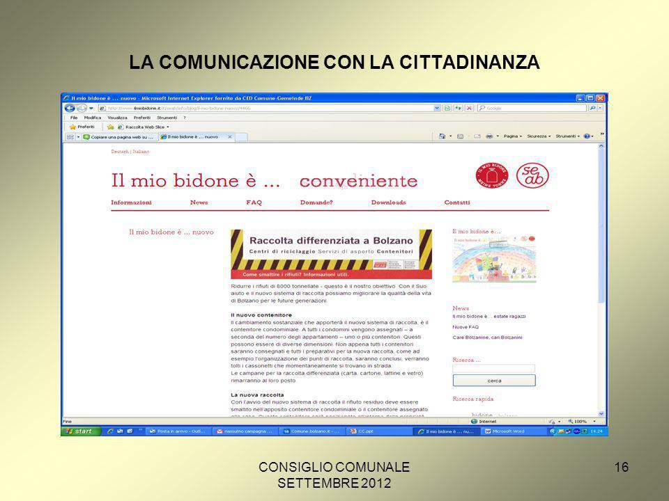 CONSIGLIO COMUNALE SETTEMBRE 2012 16 LA COMUNICAZIONE CON LA CITTADINANZA
