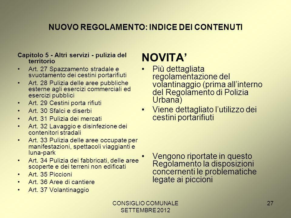 CONSIGLIO COMUNALE SETTEMBRE 2012 27 NUOVO REGOLAMENTO: INDICE DEI CONTENUTI Capitolo 5 - Altri servizi - pulizia del territorio Art.