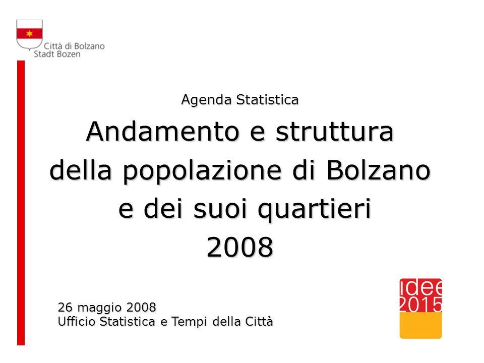 Agenda Statistica Andamento e struttura della popolazione di Bolzano e dei suoi quartieri e dei suoi quartieri2008 26 maggio 2008 Ufficio Statistica e Tempi della Città