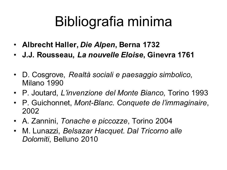 Bibliografia minima Albrecht Haller, Die Alpen, Berna 1732 J.J. Rousseau, La nouvelle Eloise, Ginevra 1761 D. Cosgrove, Realtà sociali e paesaggio sim