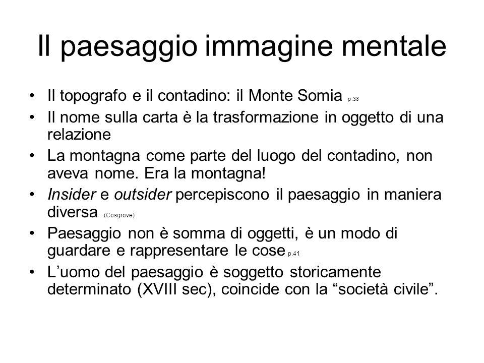 Il paesaggio immagine mentale Il topografo e il contadino: il Monte Somia p.38 Il nome sulla carta è la trasformazione in oggetto di una relazione La