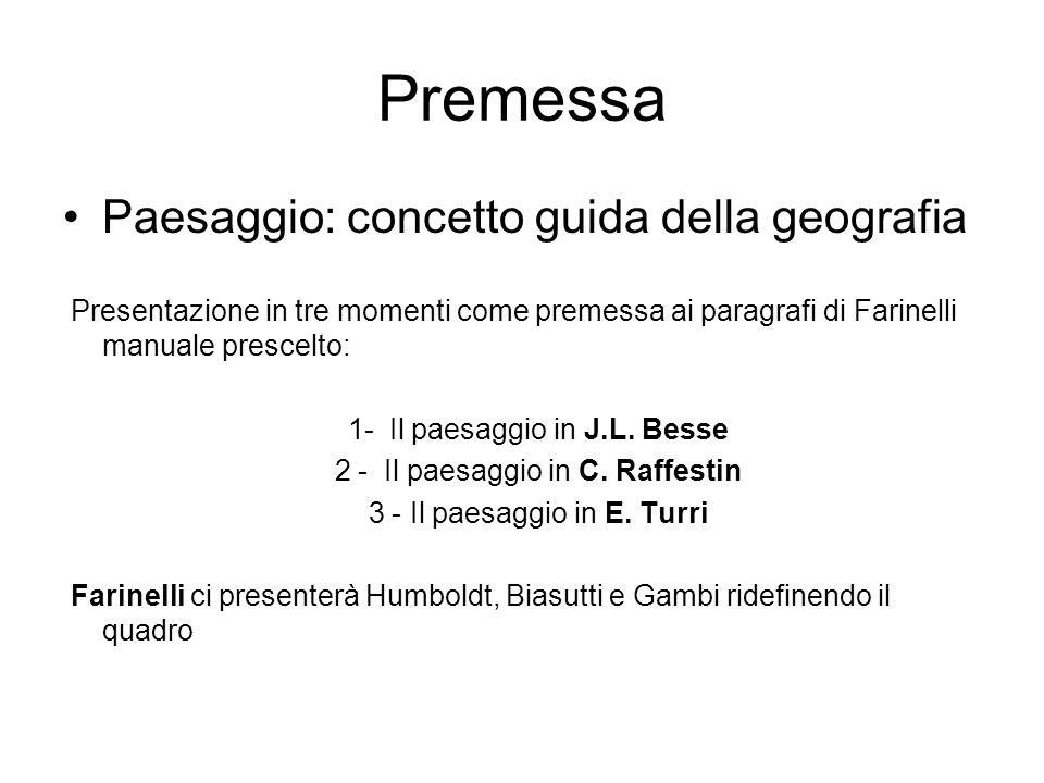 Premessa Paesaggio: concetto guida della geografia Presentazione in tre momenti come premessa ai paragrafi di Farinelli manuale prescelto: 1- Il paesa