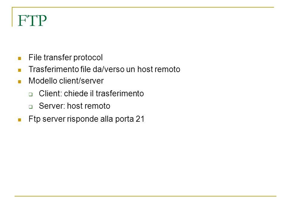 FTP File transfer protocol Trasferimento file da/verso un host remoto Modello client/server Client: chiede il trasferimento Server: host remoto Ftp server risponde alla porta 21