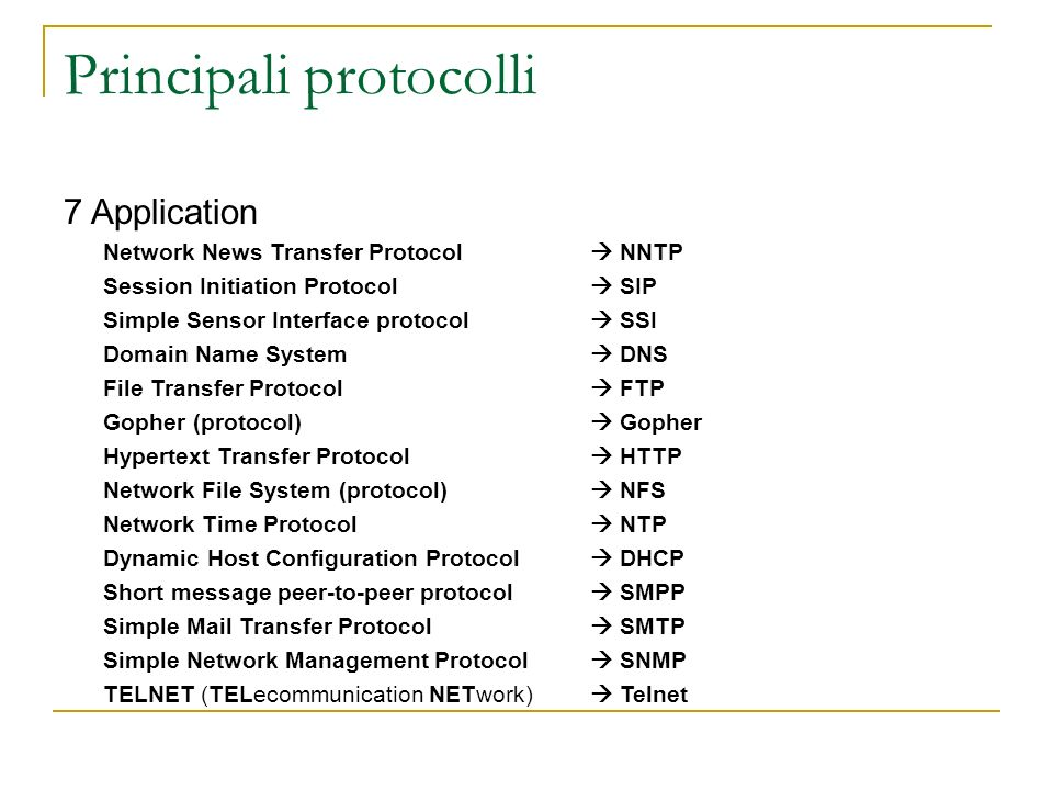 Principali protocolli 7 Application Network News Transfer Protocol NNTP Session Initiation Protocol SIP Simple Sensor Interface protocol SSI Domain Name System DNS File Transfer Protocol FTP Gopher (protocol) Gopher Hypertext Transfer Protocol HTTP Network File System (protocol) NFS Network Time Protocol NTP Dynamic Host Configuration Protocol DHCP Short message peer-to-peer protocol SMPP Simple Mail Transfer Protocol SMTP Simple Network Management Protocol SNMP TELNET (TELecommunication NETwork) Telnet