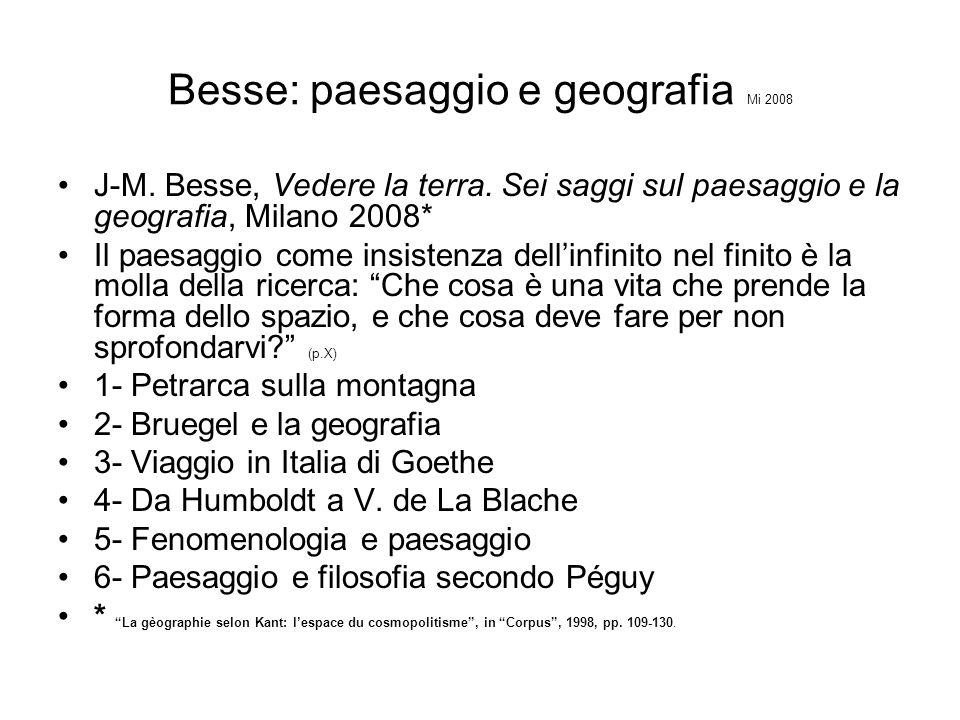 Besse: paesaggio e geografia Mi 2008 J-M. Besse, Vedere la terra. Sei saggi sul paesaggio e la geografia, Milano 2008* Il paesaggio come insistenza de