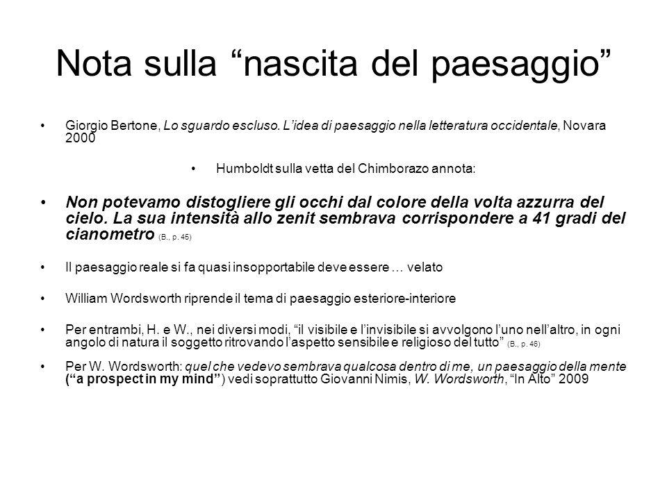 Nota sulla nascita del paesaggio Giorgio Bertone, Lo sguardo escluso. Lidea di paesaggio nella letteratura occidentale, Novara 2000 Humboldt sulla vet