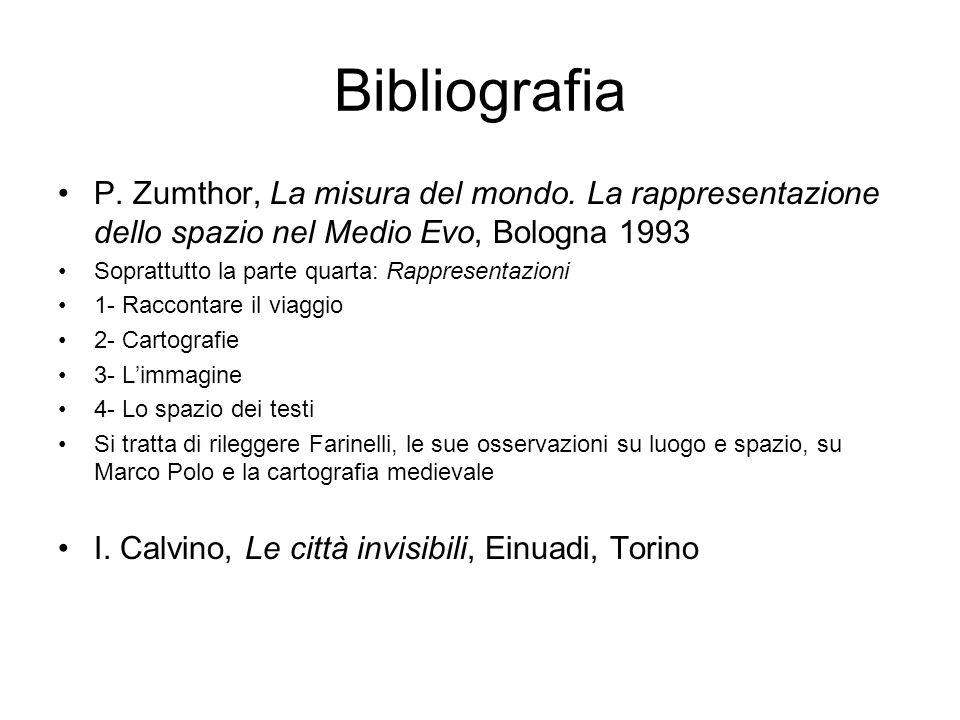 Bibliografia P. Zumthor, La misura del mondo. La rappresentazione dello spazio nel Medio Evo, Bologna 1993 Soprattutto la parte quarta: Rappresentazio