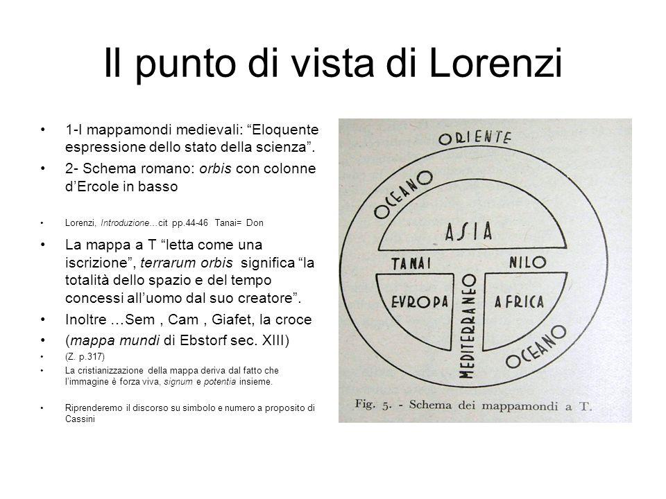 Il punto di vista di Lorenzi 1-I mappamondi medievali: Eloquente espressione dello stato della scienza. 2- Schema romano: orbis con colonne dErcole in