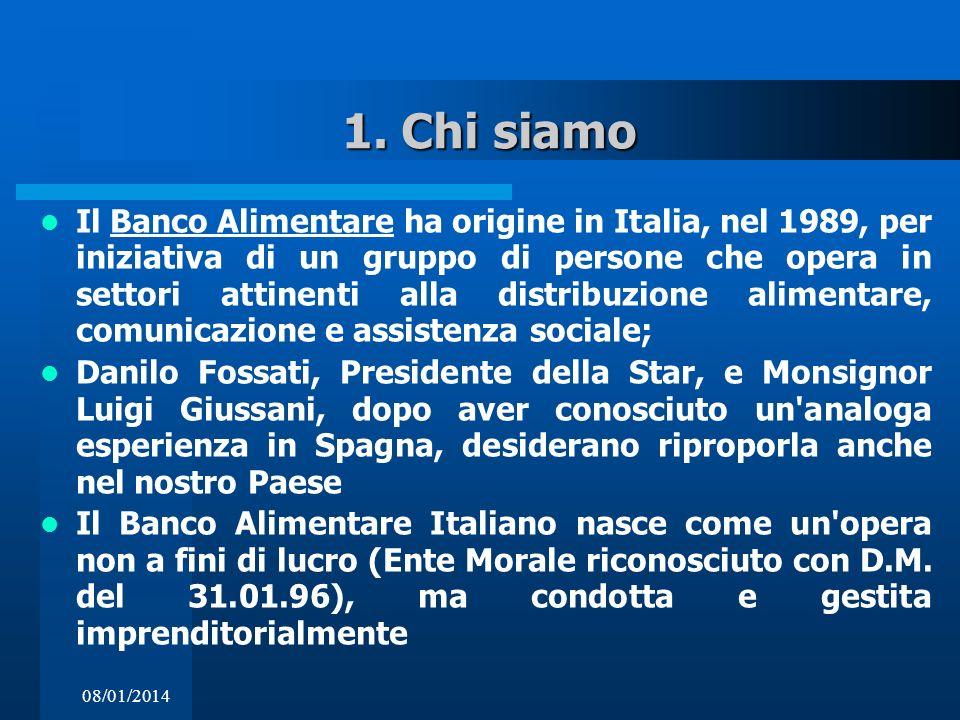 08/01/2014 1. Chi siamo Il Banco Alimentare ha origine in Italia, nel 1989, per iniziativa di un gruppo di persone che opera in settori attinenti alla