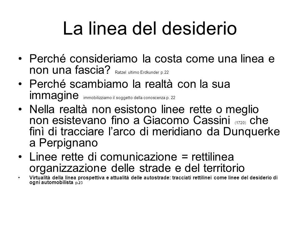 La linea del desiderio Perché consideriamo la costa come una linea e non una fascia? Ratzel ultimo Erdkunder p.22 Perché scambiamo la realtà con la su