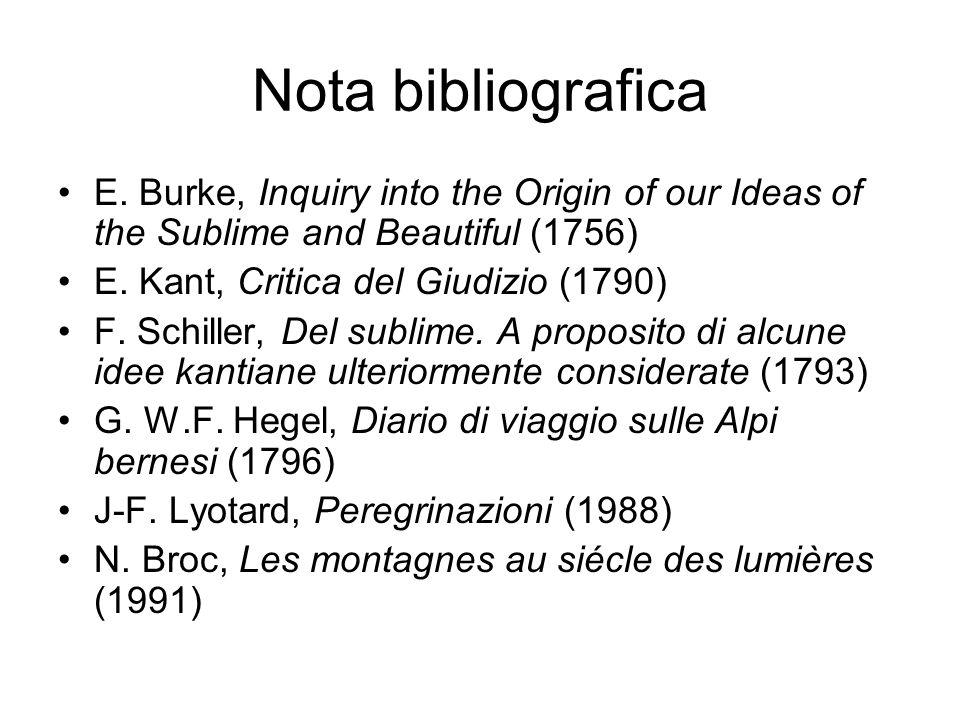 Nota bibliografica E. Burke, Inquiry into the Origin of our Ideas of the Sublime and Beautiful (1756) E. Kant, Critica del Giudizio (1790) F. Schiller