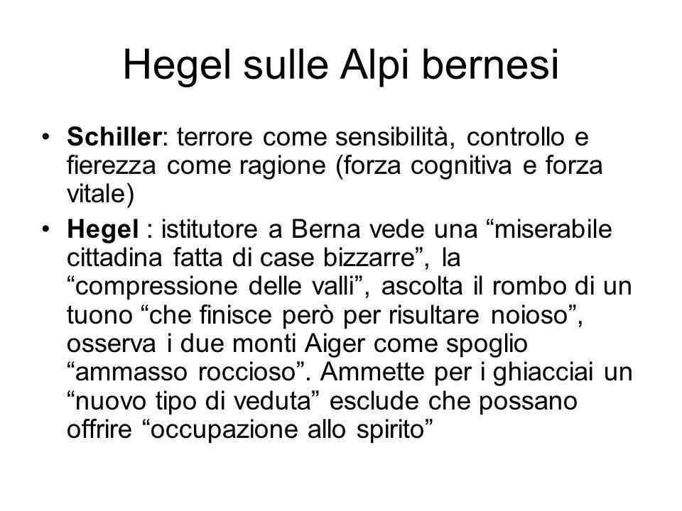 Hegel sulle Alpi bernesi Schiller: terrore come sensibilità, controllo e fierezza come ragione (forza cognitiva e forza vitale) Hegel : istitutore a B