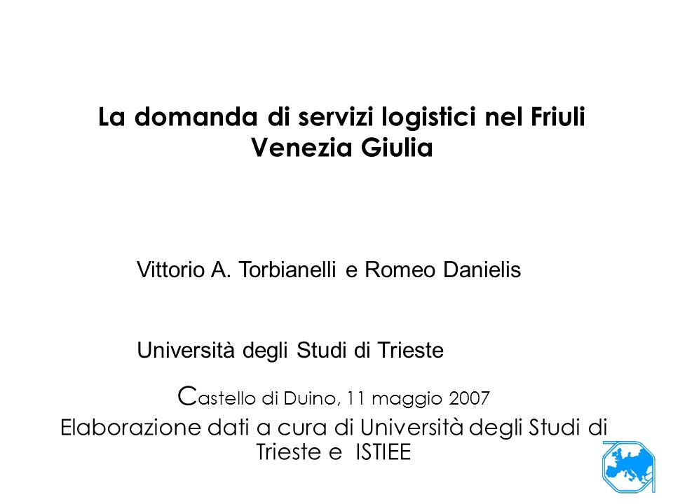 La domanda di servizi logistici nel Friuli Venezia Giulia C astello di Duino, 11 maggio 2007 Elaborazione dati a cura di Università degli Studi di Trieste e ISTIEE Vittorio A.
