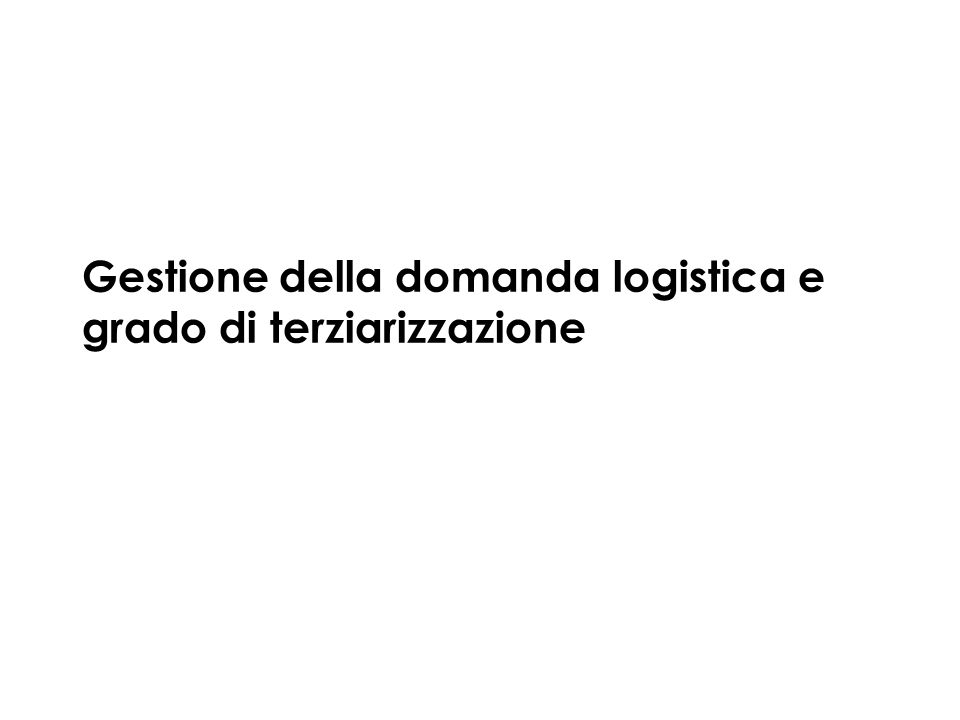 Gestione della domanda logistica e grado di terziarizzazione
