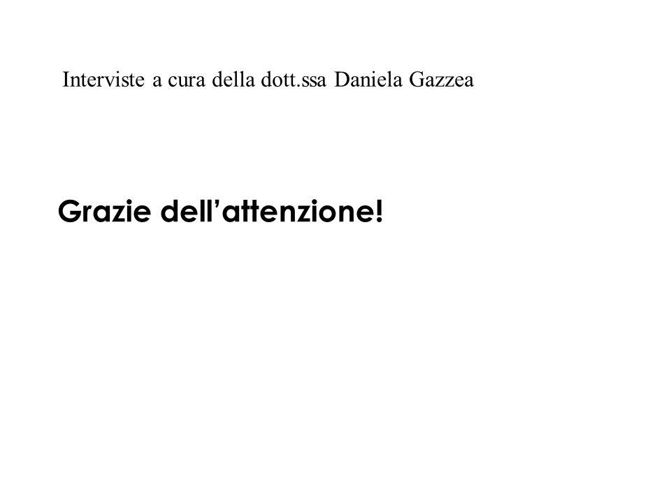 Grazie dellattenzione! Interviste a cura della dott.ssa Daniela Gazzea