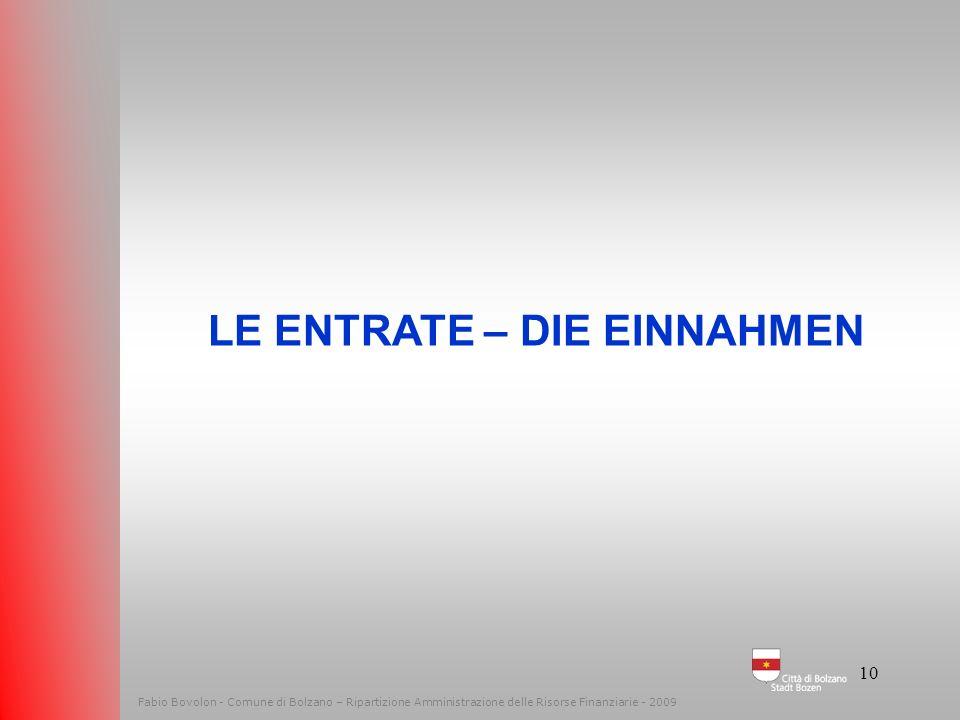 9 Fabio Bovolon - Comune di Bolzano – Ripartizione Amministrazione delle Risorse Finanziarie - 2009 LE ECONOMIE DIE EINSPARUNGEN