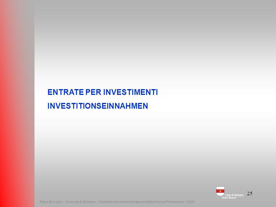 24 Fabio Bovolon - Comune di Bolzano – Ripartizione Amministrazione delle Risorse Finanziarie - 2009