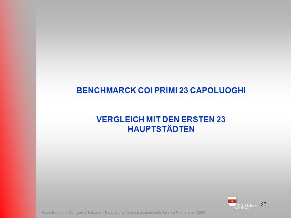 36 Fabio Bovolon - Comune di Bolzano – Ripartizione Amministrazione delle Risorse Finanziarie - 2009 Le spese – Die Ausgaben