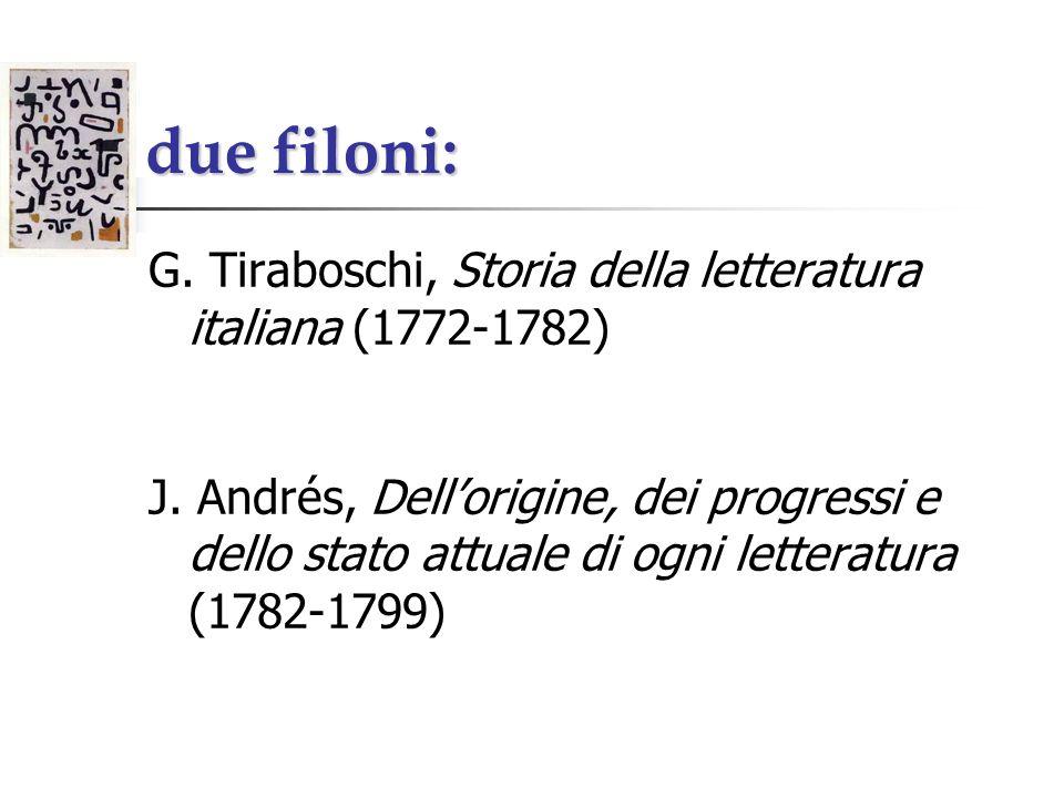 due filoni: G. Tiraboschi, Storia della letteratura italiana (1772-1782) J. Andrés, Dellorigine, dei progressi e dello stato attuale di ogni letteratu