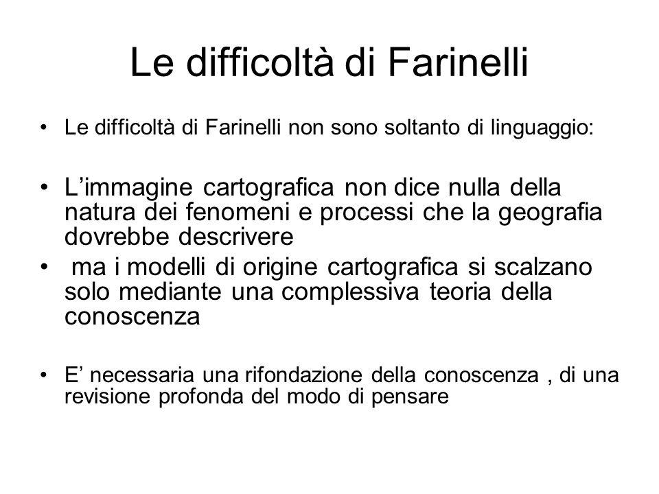 Le difficoltà di Farinelli Le difficoltà di Farinelli non sono soltanto di linguaggio: Limmagine cartografica non dice nulla della natura dei fenomeni