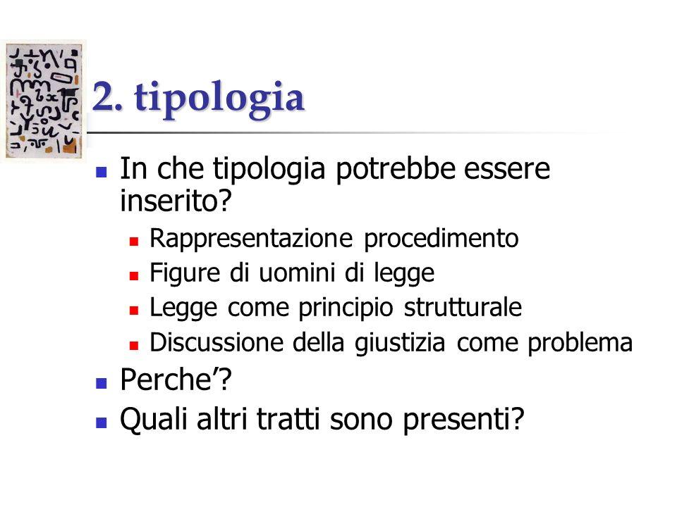 2. tipologia In che tipologia potrebbe essere inserito? Rappresentazione procedimento Figure di uomini di legge Legge come principio strutturale Discu
