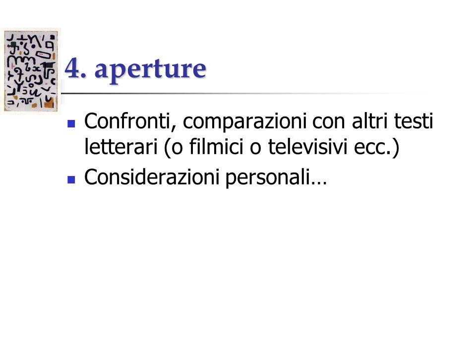 4. aperture Confronti, comparazioni con altri testi letterari (o filmici o televisivi ecc.) Considerazioni personali…