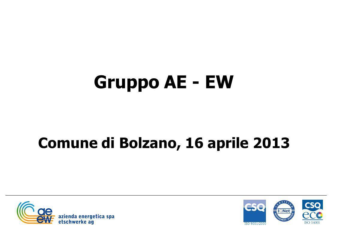 1 Gruppo AE - EW Comune di Bolzano, 16 aprile 2013 ISO 9001:2000