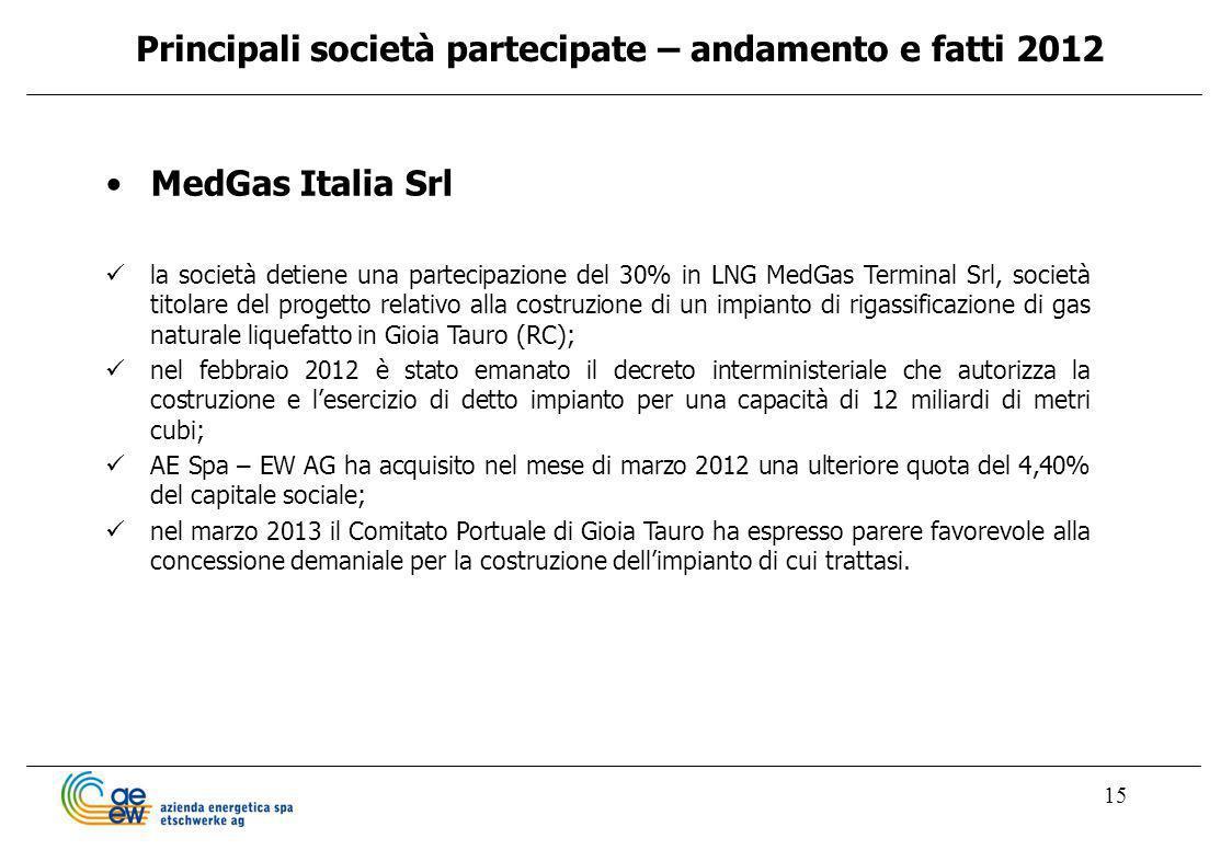 15 MedGas Italia Srl la società detiene una partecipazione del 30% in LNG MedGas Terminal Srl, società titolare del progetto relativo alla costruzione