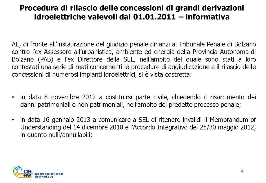 9 Procedura di rilascio delle concessioni di grandi derivazioni idroelettriche valevoli dal 01.01.2011 – informativa AE, di fronte allinstaurazione de