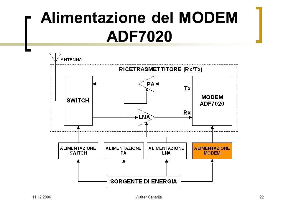11.12.2006Walter Caharija22 Alimentazione del MODEM ADF7020