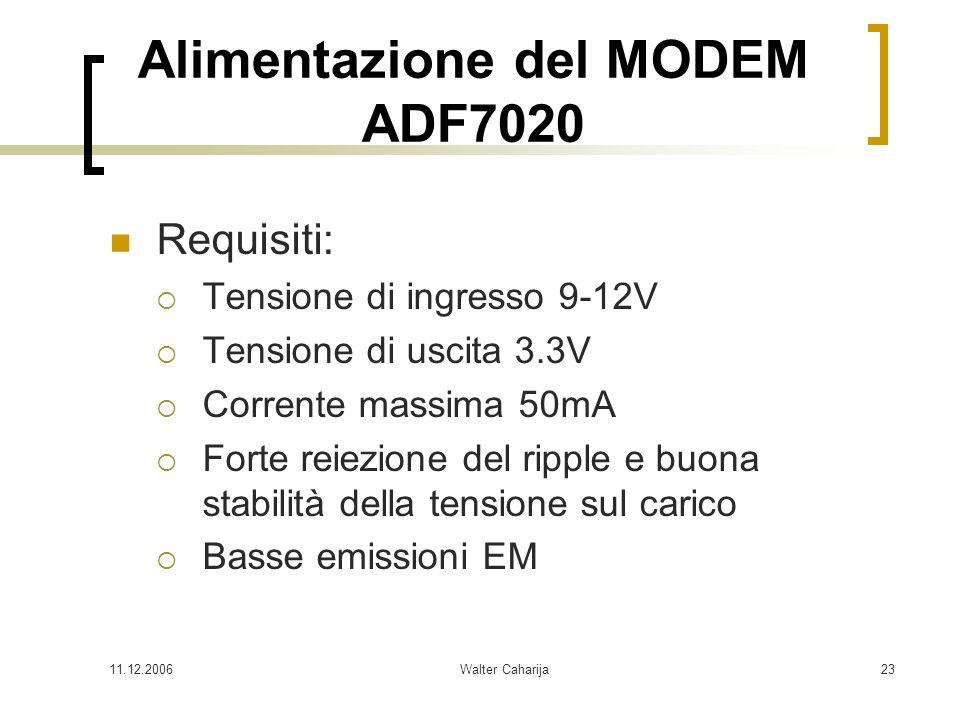 11.12.2006Walter Caharija23 Alimentazione del MODEM ADF7020 Requisiti: Tensione di ingresso 9-12V Tensione di uscita 3.3V Corrente massima 50mA Forte