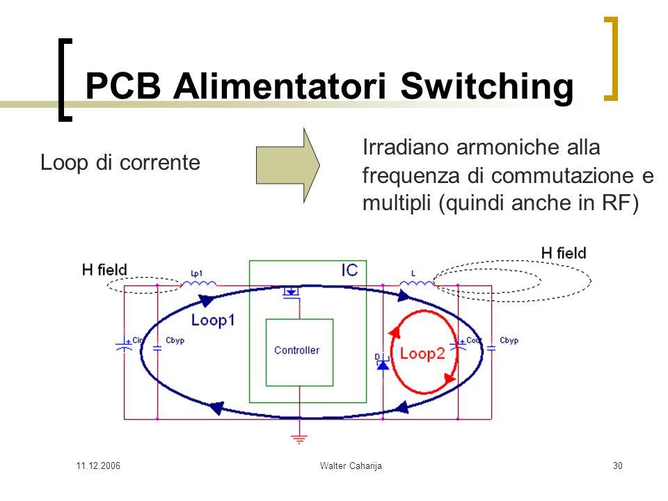 11.12.2006Walter Caharija30 PCB Alimentatori Switching Loop di corrente Irradiano armoniche alla frequenza di commutazione e multipli (quindi anche in