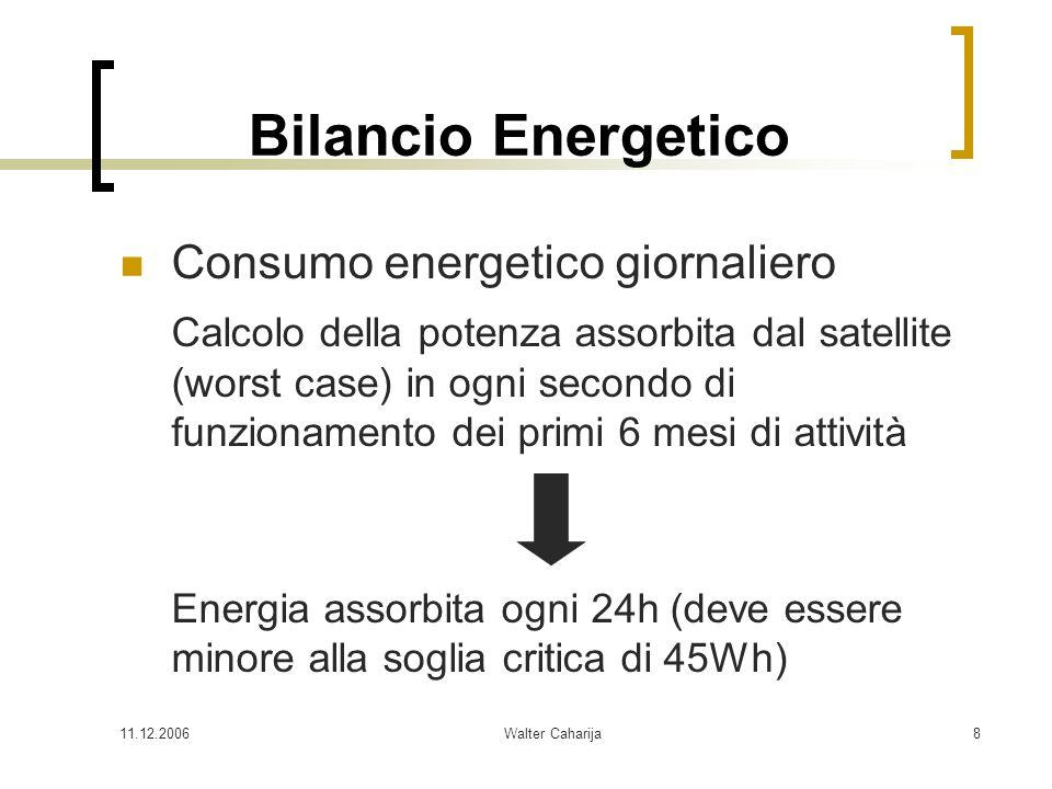11.12.2006Walter Caharija8 Bilancio Energetico Consumo energetico giornaliero Calcolo della potenza assorbita dal satellite (worst case) in ogni secon