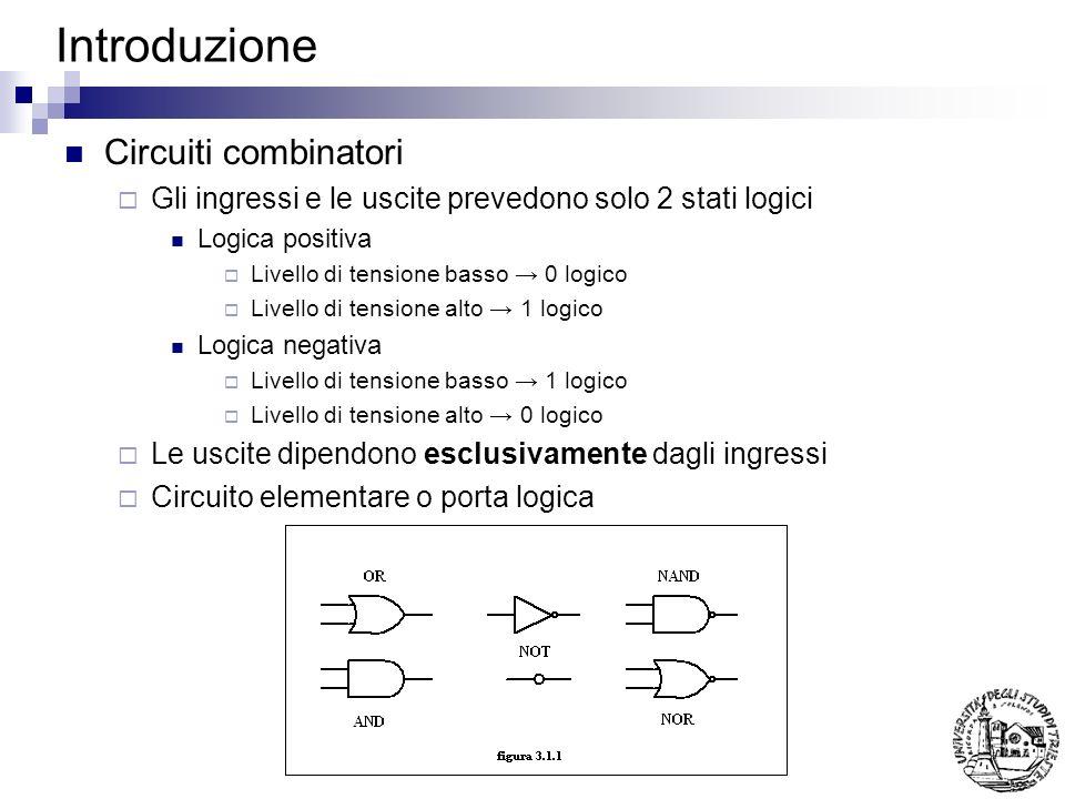 Introduzione Circuiti combinatori Gli ingressi e le uscite prevedono solo 2 stati logici Logica positiva Livello di tensione basso 0 logico Livello di tensione alto 1 logico Logica negativa Livello di tensione basso 1 logico Livello di tensione alto 0 logico Le uscite dipendono esclusivamente dagli ingressi Circuito elementare o porta logica