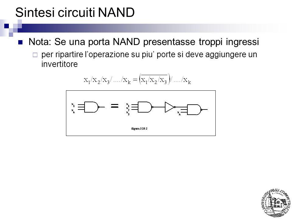 Sintesi circuiti NAND Nota: Se una porta NAND presentasse troppi ingressi per ripartire loperazione su piu porte si deve aggiungere un invertitore