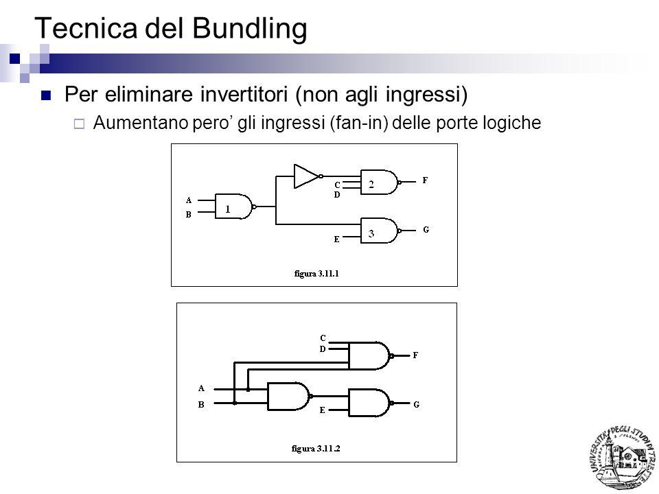 Tecnica del Bundling Per eliminare invertitori (non agli ingressi) Aumentano pero gli ingressi (fan-in) delle porte logiche