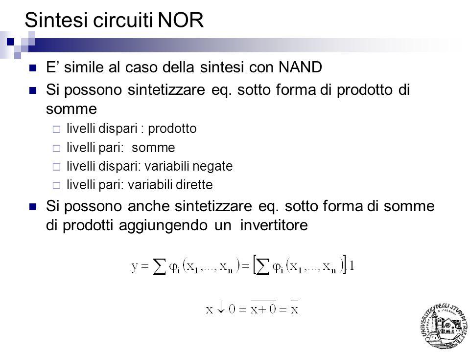 Sintesi circuiti NOR E simile al caso della sintesi con NAND Si possono sintetizzare eq.