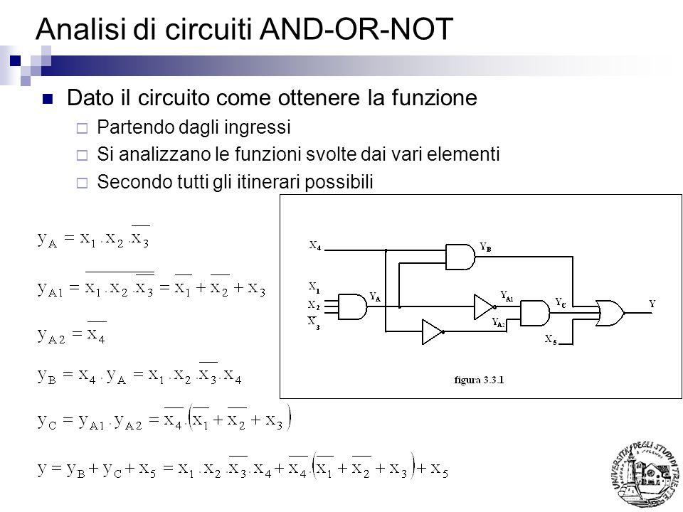 Analisi di circuiti AND-OR-NOT Dato il circuito come ottenere la funzione Partendo dagli ingressi Si analizzano le funzioni svolte dai vari elementi Secondo tutti gli itinerari possibili
