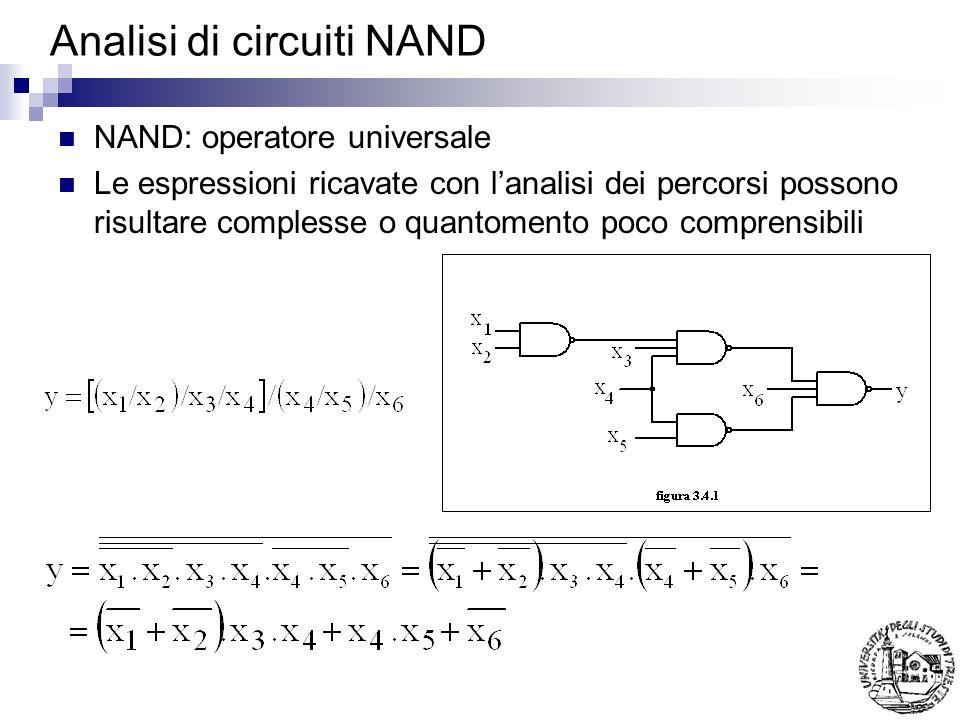 Analisi di circuiti NAND Si puo agevolmente pervenire ad un risultato in forma di somme di prodotti: Nota: Le variabili ai livelli dispari sono negate, ai livelli pari sono dirette Ai livelli dispari vi e la somma, ai livelli pari il prodotto