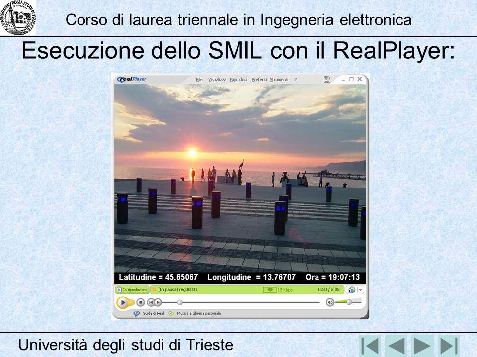 Esecuzione dello SMIL con il RealPlayer: Università degli studi di Trieste Corso di laurea triennale in Ingegneria elettronica