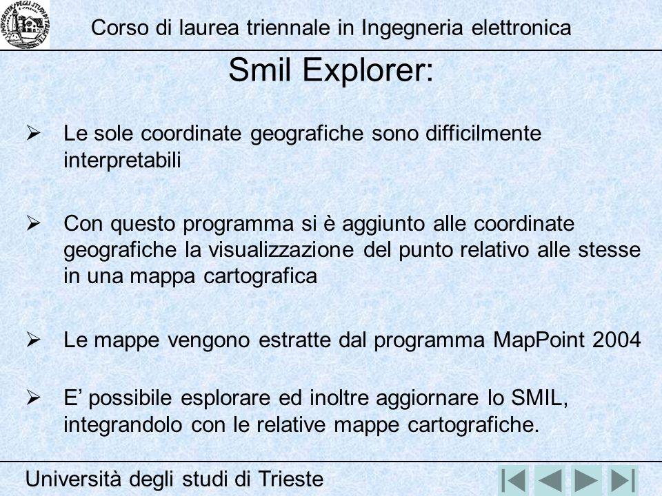 Smil Explorer: Università degli studi di Trieste Corso di laurea triennale in Ingegneria elettronica Le sole coordinate geografiche sono difficilmente