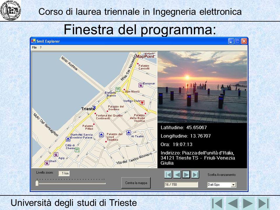 Finestra del programma: Università degli studi di Trieste Corso di laurea triennale in Ingegneria elettronica